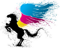 CMYK pegasus. Black pegasus with wing in colors of CMYK Stock Images