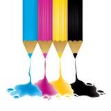 CMYK pencils. With paint drop,  illustration Stock Photos