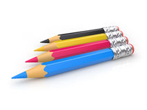 CMYK pencils. (can be used for printing or web design royalty free illustration
