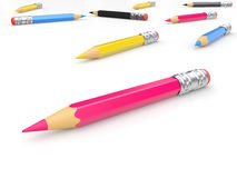 CMYK pencils Royalty Free Stock Images
