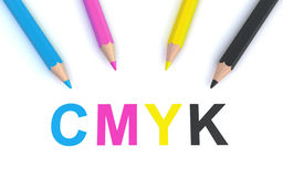 Cmyk pencils. Four pencils in cmyk colors with cmyk 3d text on the white background (3d render Royalty Free Stock Photos