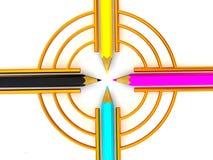 cmyk pencils målet Arkivbild