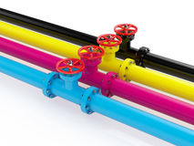 CMYK pipelines. 3d render of cmyk pipelines  on white background Royalty Free Stock Image