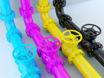 CMYK pipelines. Industrial printing - CMYK pipelines with valves Royalty Free Stock Image
