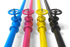 CMYK pipelines with valves Stock Image