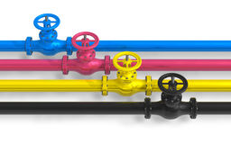 CMYK pipelines with valves. Isolated over white background Royalty Free Stock Photography