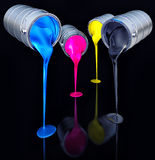 CMYK pots. High resolution 3D rendering of cmyk colors in front of black stock illustration