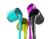 CMYK pouring paint. Realistic illustration of CMYK color paint cans pouring glossy paint Stock Photos