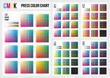 CMYK prasy koloru mapa Wektorowa kolor paleta, CMYK proces druku dopasowanie Koloru zarządzanie, kontrola jakości w druk produkci ilustracji