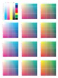 CMYK Press Color Chart. Vector color palette, CMYK process printing match. For digital design, animation, and packaging when CMYK printing is required Royalty Free Stock Images
