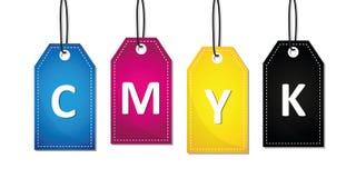 CMYK-primaire de kleurendruk van het tekstetiket vector illustratie