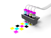 Cmyk print cartridge. Concept cmyk model. Print cartridge with ink in glass bottles on a white background Royalty Free Stock Image