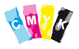 CMYK print color inks. Cyan, magenta, yellow and black CMYK - the four ink colors used in print royalty free illustration