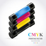 Cmyk print colored roll Stock Images