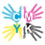 CMYK Print colors handprints Royalty Free Stock Photos