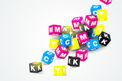 CMYK print concept with 3D cubes Stock Photos