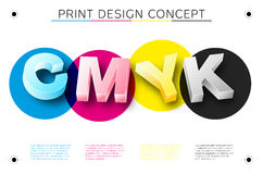 CMYK print concept with 3D letters Royalty Free Stock Photography