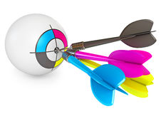CMYK Print concept design. Dart on target. CMYK Print concept design. 3d render stock illustration