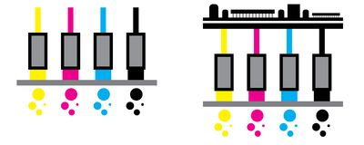 CMYK​ Print heads icon Stock Photo