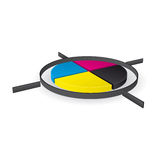 CMYK print registration mark. 3D illustration of CMYK print registration mark Stock Images