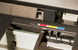 Cmyk printer. Close up view of the inside of a colour printer stock photo