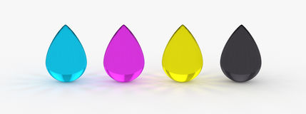 CMYK printing 4C process ink drops Royalty Free Stock Photo