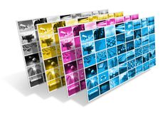 CMYK printing concept. CMYK printing process concept isolated on white background Stock Image