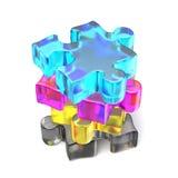CMYK-pussel ordnad 3D royaltyfri illustrationer