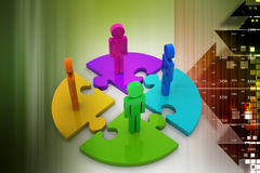 Cmyk puzzles with people Stock Image
