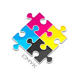 CMYK puzzles. Vector element. Logotype with CMYK puzzles Royalty Free Stock Photo