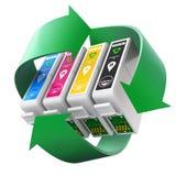 CMYK-reeks patronen met het recycling van symbool Stock Afbeeldingen