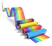 CMYK-reeks printerrollen met golvende kleurengrafiek Stock Fotografie