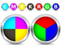 CMYK and RGB buttons. On white background vector illustration