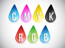 Cmyk and rgb color drops illustration design Stock Photos