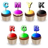 CMYK RGB Cupcakes Colors Palette. CMYK and RGB Colors Palettes represented by delicious cupcakes Royalty Free Stock Image