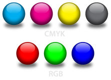 CMYK and RGB glass balls Stock Photo