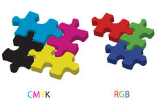 Cmyk and rgb - vector. Cmyk and rgb puzzle in white background, vector vector illustration