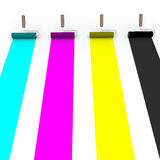 Cmyk rollers front view Stock Images