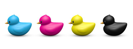 CMYK color rubber duck symbolic toy vector illustration