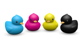 CMYK color rubber duck symbolic toy. Cute plastic ducks with 4C process printing CMYK ink colors. Isolated rubber ducks vector illustration