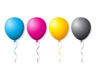 CMYK-samlingen av färgar ballonger Arkivbild