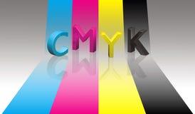 CMYK segna il nastro con lettere di colore Fotografia Stock