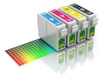 CMYK set of cartridges for ink jet printer Stock Photos