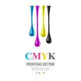 CMYK shiny drops Royalty Free Stock Photo