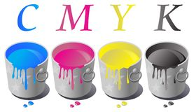 Cmyk of simple paint bucke Royalty Free Stock Image
