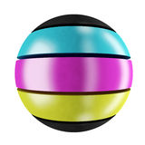 CMYK sphere. Three-colored sphere Stock Photography