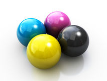 Cmyk spheres. Four spheres in cmyk color on the white background (3d render Stock Image
