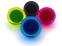 CMYK Spheres. 3d rendered CMYK sheres. I used sheres only CMYK colors stock illustration