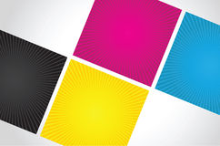 Cmyk spiral boxes Royalty Free Stock Images