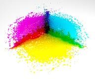 Cmyk Splash. CMYK and RGB Colors. Liquid Ink Splash Stock Photos